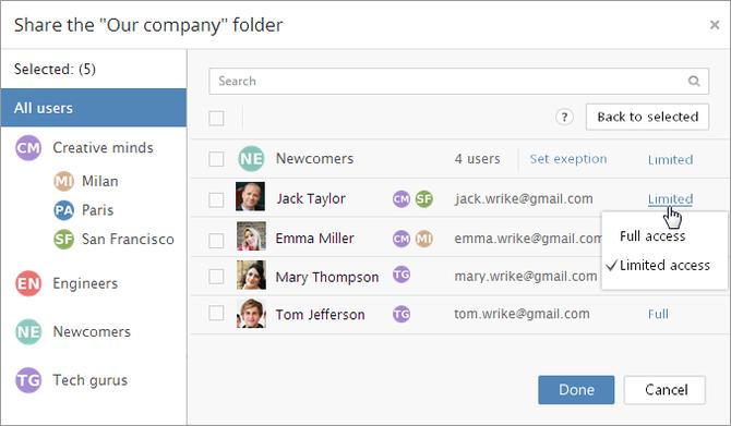 Wrike Enterprise folder permissions access level